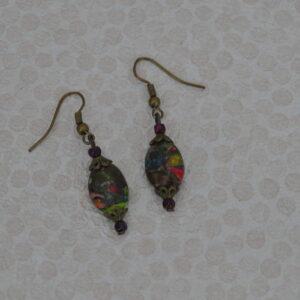 Boucles d'oreilles jaspe impérial, Réf. 226
