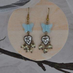 Boucles d'oreilles papillon bleu et coeur, Réf. 228