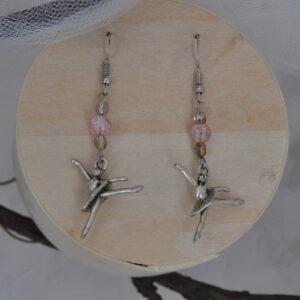 Boucles d'oreilles ballerines argent et rose, Réf 232