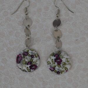 Boucles d'oreilles violettes nacrées, Réf. 233