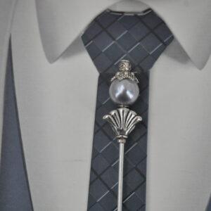 Epingle à cravate ou à lavallière argent et gris, Réf. 253