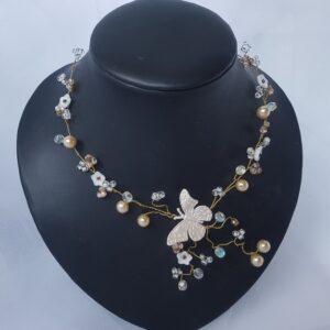 Collier pour mariée, perles, fleurs et papillons, Réf. 12