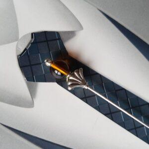 Epingle à cravate ou lavallière, dans les tons argent, marron, coca, miel, Réf. 48