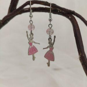 Boucles d'oreilles ballerines avec tutu rose, Ref. 159