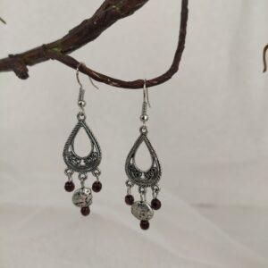 Boucles d'oreilles style ethnique, argenté et marron, Ref. 160