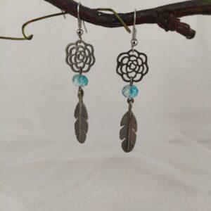 Boucles d'oreilles plumes et perles turquoise style dreamcatcher, Réf. 124