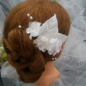 Pic mariage fleurs blanches et rose, Réf. 25
