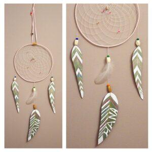 Attrape-rêves eucalyptus pastel, 3 feuilles personnalisables