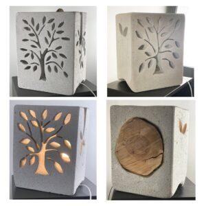 Lampe béton cellulaire incrustée de bois