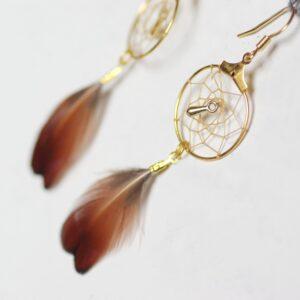 Boucles d'oreilles dreamcatchers marron